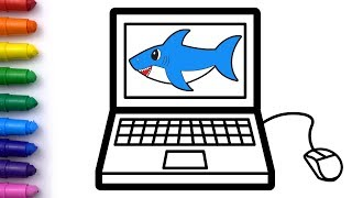TOY COMPUTER with Baby Shark Drawing and Coloring pages for kids | Whoopee Playhouse