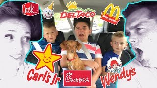 FAST FOOD CHALLENGE! We Order What the Car in Front Ordered - Drive Through By HobbyKidsTV