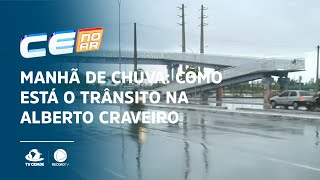 Manhã de chuva: Como está o trânsito na Alberto Craveiro