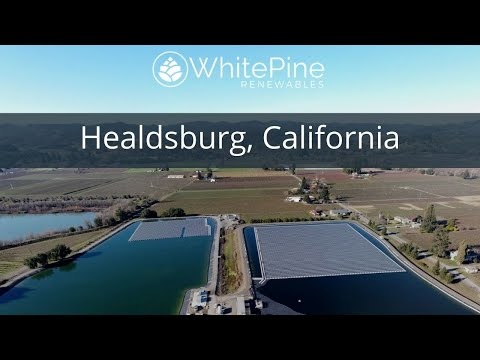 White Pine Renewables has just completed the largest floating solar project in the U.S., a 4.78 MW floating solar project for the City of Healdsburg, Calif. Located in the heart of the wine country in Sonoma County, Healdsburg has set a target for 60% renewable energy by 2030. With little land open for development, the city found available space for solar on the city's wastewater treatment ponds.