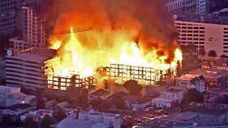Huge 4-Alarm Fire Destroys Construction Site in Oakland