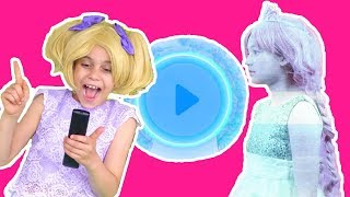 The Remote Controls The Princesses 📺 Esme & Olivia Go Into TV- Princesses In Real Life | Kiddyzuzaa