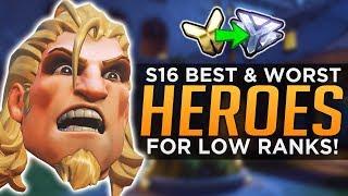 Overwatch: BEST & WORST Heroes for Low Ranks! - Season 16