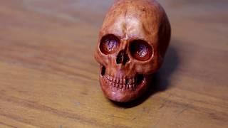 wooden mini skull