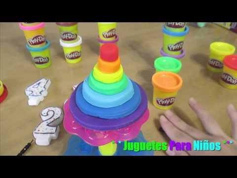 Pastel torre de colores hecho con Plastilina (Pastel torre de arcoiris) *Juguetes para niños*