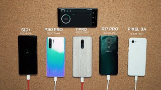 OnePlus 7 Pro vs Galaxy S10+ vs P30 Pro vs Pixel 3A Charge Test!
