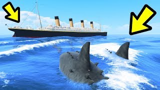 GTA 5 - The MEGALODON Shark vs. Titanic!