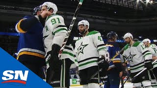 Blues, Stars Shake Hands After Maroon Ends Game 7 In Double Overtime