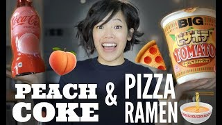 PEACH COKE & PIZZA POTATO TOMATO Instant Cup Ramen JAPANESE Snacks Taste Test