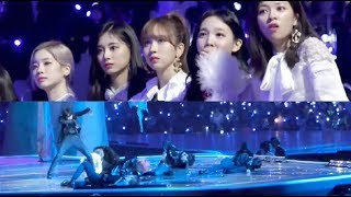 """20181212 TWICE's Reaction to BTS """"Fake Love"""" Performance @MAMA in JAPAN"""