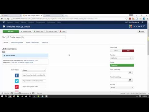 Mobile Joomla! Video Tutorials: Part II - Installing New Module: Social Icons