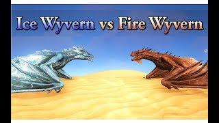 Ice Wyvern vs Fire Wyvern (+Lightning Wyvern, Poison Wyvern) || ARK: Survival Evolved || Cantex