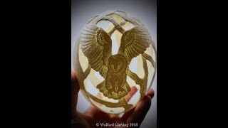 Ostrich Egg Carved with Barn Owls and Trees