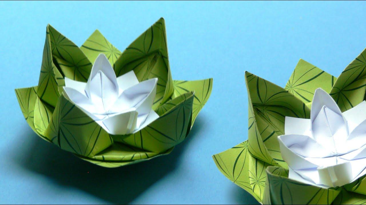 origami blumen falten 02 seerose youtube. Black Bedroom Furniture Sets. Home Design Ideas