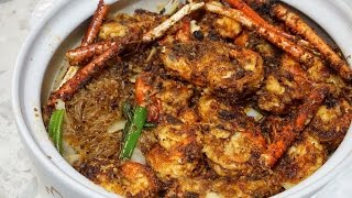Stir Fried Bean thread Noodle with Prawns in Claypot - Miến Xào Tôm Càng Tay Cầm