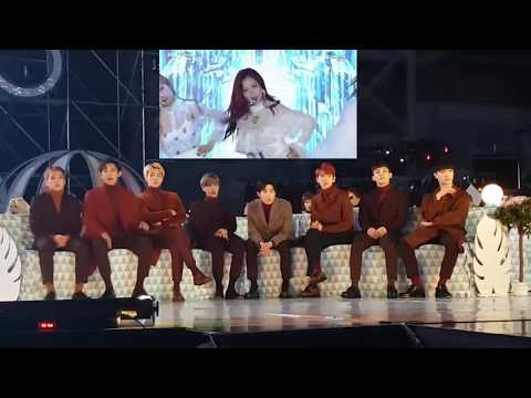 161119 EXO엑소 Reaction to BLACKPINK블랙핑크 WHISTLE + PLAYING WITH FIRE @ MMA