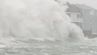 Huge waves and massive storm surge slams Scituate, MA - 2/8/2016