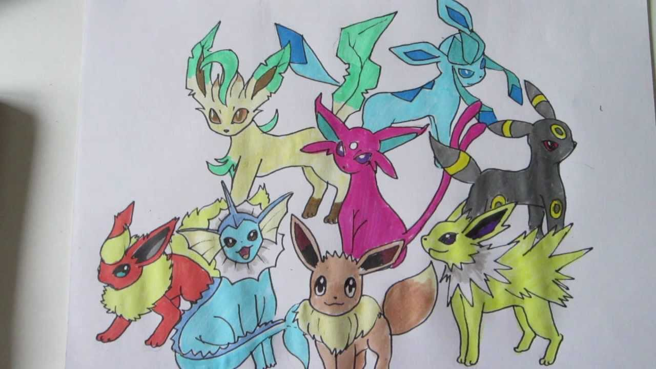 How To Draw Pokemon No 133 Eevee And All Its Evolutions