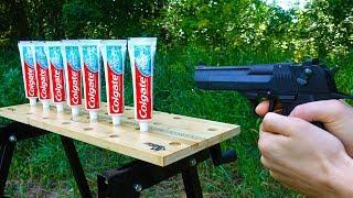EXPERIMENT: GUN VS TOOTHPASTE