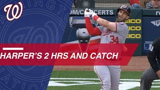 Bryce Harper shows off his bat and glove against the Reds