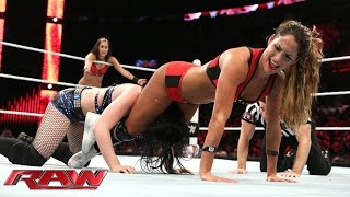 Paige vs. The Bella Twins - 2-on-1 Handicap Match: Raw, June 15, 2015
