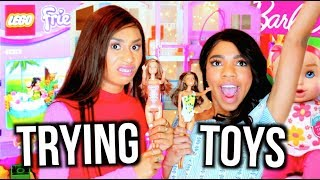 GIRLS TRY POPULAR KIDS TOYS! LEGOS BARBIES CRYING DOLLS | MyLifeAsEva