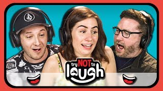 YouTubers React To Try To Watch This Without Laughing or Grinning #5