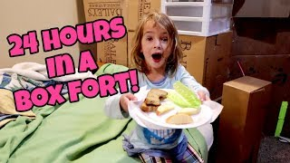24 HOURS IN A BOX FORT | HomeSchool Lazy Day Routine