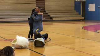 Army sergeant surprises daughter at assembly
