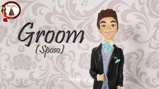 Groom out of fondant cake topper for wedding- Sposo in pasta di zucchero per torta di matrimonio