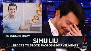 Simu Liu Reacts to Viral Stock Photos of Himself and Marvel Memes   The Tonight Show