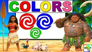 Learn Colors with Moana for Kids, Children, Toddlers | Learn Colours for Kids
