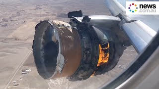 Dramatic video shows United Airlines engine burst into flames over Denver