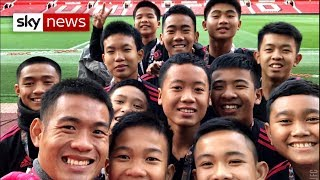 Rescued Thai cave boys meet Jose Mourinho at Manchester United's home ground