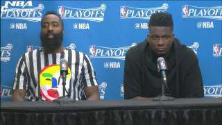 James Harden & Clint Capela Interview Rockets vs Spurs Game