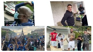 Inter Milan players and fans celebrating clinch Serie A title after Atalanta's 1-1 draw