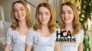 Mckenna Grace presenting HCA Award for Best Animated or VFX Performance and announcing winner