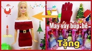 Đồ chơi trẻ em: May váy Noel búp bê từ bao tay cũ/DIY Doll christmas dress/ Tặng búp bê CÔNG CHÚA