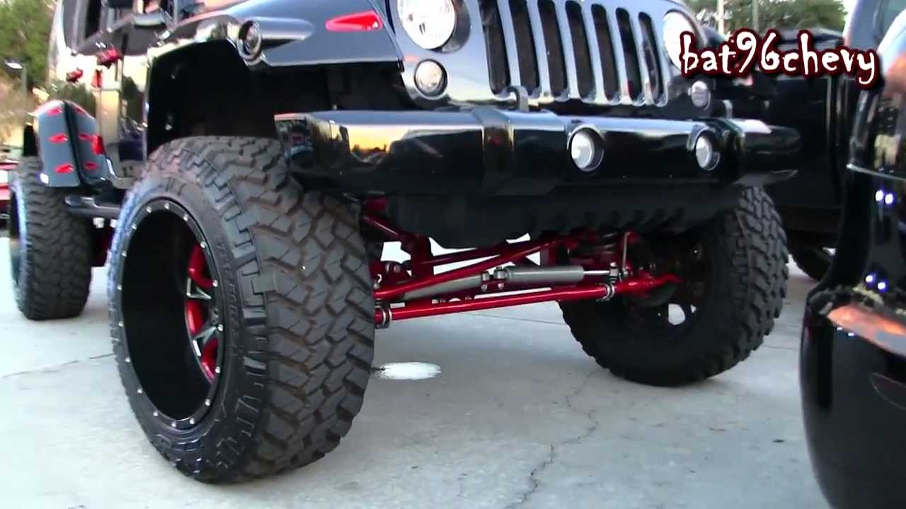 Black Red Jeep Wrangler Unlimited Lifted On 37x13 50r22