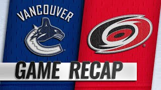 Hurricanes top Canucks for third straight win
