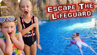 Escape The Lifeguard!!! Dad Sinks to the Bottom of the Pool!