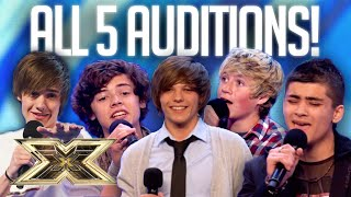 MAKING of ONE DIRECTION: all FIVE Auditions and FIRST as a group! | 10 Years of 1D | The X Factor UK
