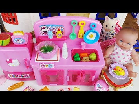 Hello Kitty mini kitchen and Baby doll cooking toys pororo tayo car play 키티 미니 주방놀이 하우스 장난감 뽀로로 토이몽