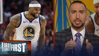 Nick Wright on Boogie Cousins' season-high, talks Warriors' team drama | NBA | FIRST THINGS FIRST