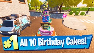 Dance in front of different Birthday Cakes Location - Fortnite Battle Royale