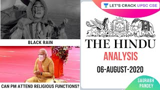 06-August-2020 | The Hindu Newspaper Analysis | Current Affairs for UPSC CSE/IAS | Saurabh Pandey