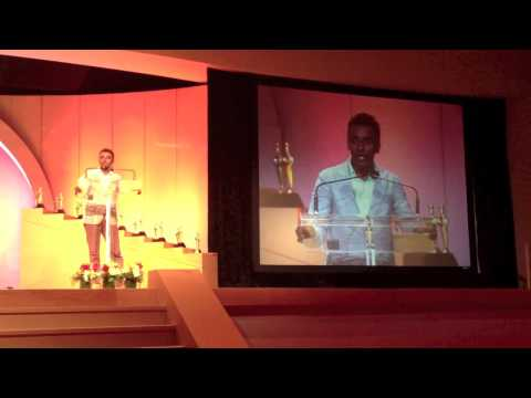 Chef Marcus Samuelsson while delivering the keynote at the 2013 ...