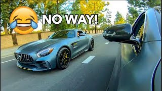 MERCEDES AMG GTR OWNER BETS $1000 HIS CAR IS FASTER LOL!