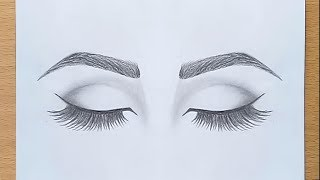 How to draw Closed Eyes for beginners.... step by step
