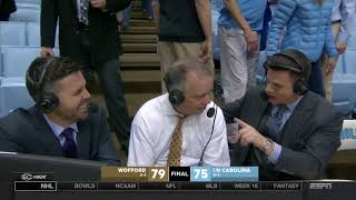 Wofford on ESPN after Defeating #5 North Carolina
